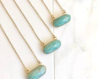 Small Amazonite Bar Necklace.  Everyday Gold Bar Pendant Necklace. Dainty Gold Bar Necklace. Gift. Layering Necklace. Amazonite Necklace.
