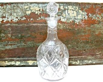 Diamond Cut Pressed Glass Decanter - Vintage Wine Whiskey Scotch Bourbon Liquor Bottle
