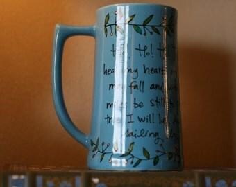 "Tolkien - ""Ho! Ho! Ho! To the bottle I go!"" - Large, blue tankard mug - Hand-Painted Ceramic Mug"
