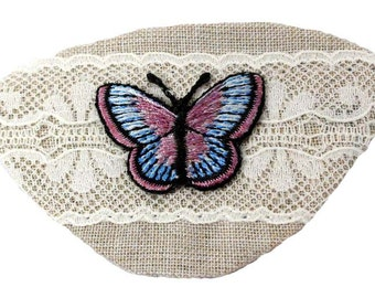 Eye Patch Natural Butterfly Lace Victorian Steampunk Pirate Fantasy Fashion Ivory Beige