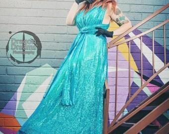 Aqua Blue Bridesmaid Dress ... Floor Length Convertible Dress...50 Colors... Maxi Dress, Wedding Dress, Prom Dress, Beauty Pageant Dress