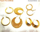 CLEARANCE SALE HOOP it Up Vintage Hoop earrings in Gold tone 4 pairs, cover every ocassion Fashion Boho Hippie