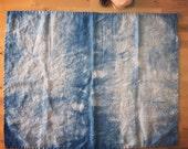 "30""x24"" LINEN indigo shibori dyed baby towel, blanket, placemat, lovey, stroller blanket, changing pad, dish towel, tea towel, burp cloth"