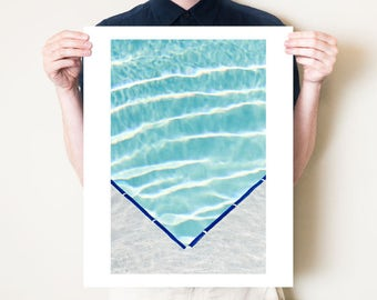 Swimming pool photography print, abstract fine art photograph, graphic water art. Modern turquoise blue artwork. Large format summer decor