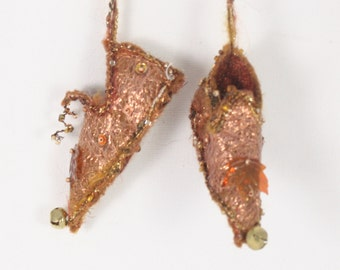 Bronze Brown Christmas Ornament Fairy Shoes forest Maple leaf faerie elf shoe tree decoration holiday decor tree fairy ornament