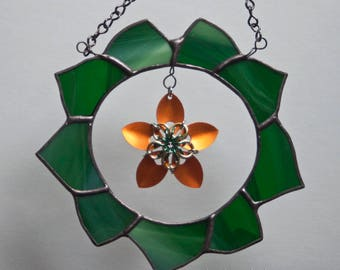 Stained Glass Green Wreath with Scale Maille Orange Flower - mixed media