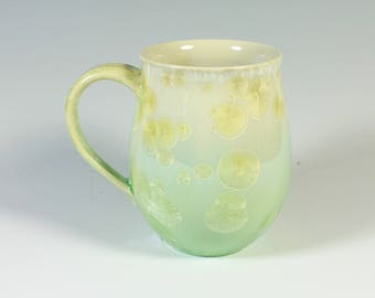 Yellow Green Crystalline Glazed Mug: 13 oz