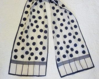 Navy Polka Dots & Stripes vintage Scarf