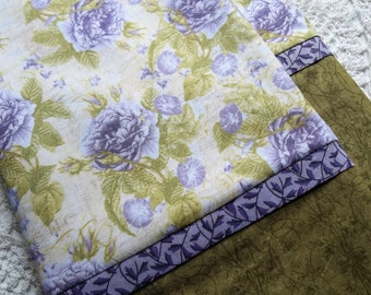 Purple lavender ROSES Queen/Standard pillowcases love Pair romantic bed linens bedding nature cottage chic