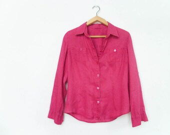 Vintage Magenta Pink Womens Shirt Blouse / Linen / Buttoned / Long Sleeve / Small Colar / medium