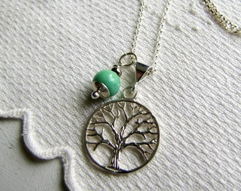 Mother's Day Sterling Silver Necklace Green Opal Gemstone Necklace Tree of Life Charm Necklace Opal Necklace