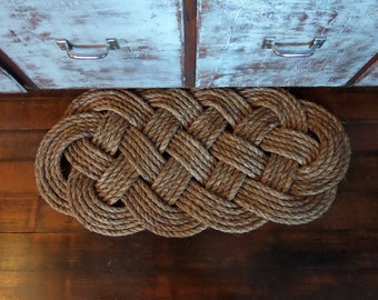 "30"" x 14"" Outdoor Rope Rug Door Mat Doormat Nautical Beach Decor Natural Rope Brown Manila Rope Tightly Woven"