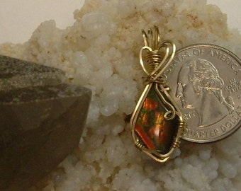 Bright Red to Orange-Red to Green and Blue Fire Ammolite from Utah Deposit Pendant Wrapped in Gold Filled Wire 512