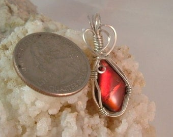 Bright Gem Red Ammolite from Utah Deposit Wire Wrapped Pendant Using Argentium Sterling Silver Wire  Pendant 556