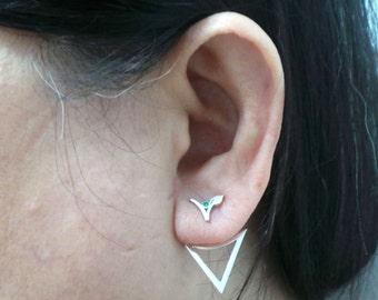 Silver Vegan Ear Jacket Stud Earring - Ear Climber, Gift for Vegetarian Jewelry, Vegan Birthday, Housewarming Gift, veganism gifts vegetable