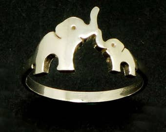 Silver Mother Daughter Elephant Ring - Gift for Mother Day, Mom and Mommy Gift, Mother and Child Ring, Moms, Dads and Grads, memory elephant