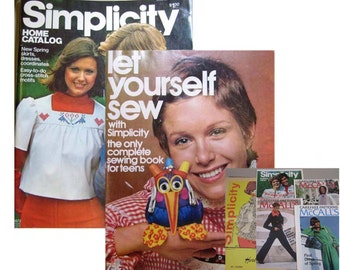 1970s Simplicity Home Pattern Catalogs and 5 pattern leaflets 60s-70s