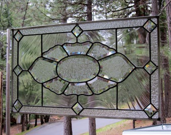 Glue Chipped Beveled Cluster Stained Glass Window-Can be displayed horizontally or vertically