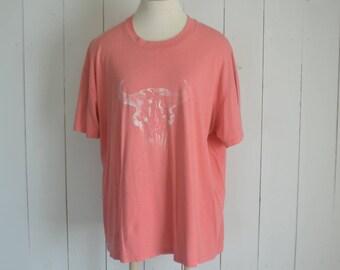 Cow Skull TShirt - Early 90s Tee - Pink Cotton Faded Vintage Bull Skull TShirt - Southwest Boho - Extra Large XL