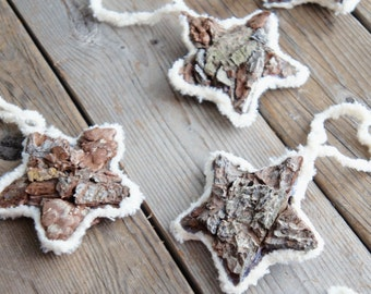 Bark Star Ornaments - Vintage Nature Ornaments - Bark Ornaments - Old Fashioned Star Ornaments - Chenile Ornaments - Star Nature Ornaments