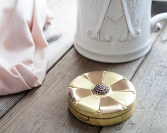 Antique Jeweled Brass Mirror Compact - Round Brass Mirror Compact - Round Ruby Mirror Compact - Antique Gemstone Compact - Purse Compact
