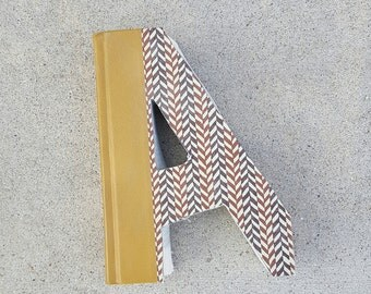 Upcycled Book Letter Decor - brown A