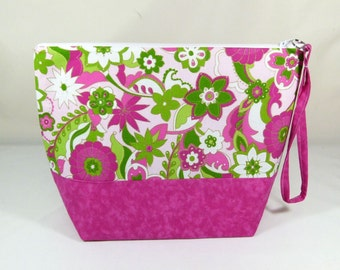 Knitting Project Bag - Large Zipper Wedge Bag in Green and Pink Floral Quilting Fabric with Pink Cotton Lining