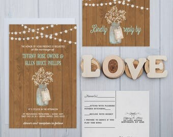 Babys Breath Wedding Invitations | Rustic Barn wood Invite Set | String Light Wedding Invitation | Ball Jar Boho Wedding Invites | SAMPLE