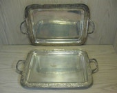 Silver Plate Qty 2 Serving Trays With Handles Qty 2 Berry And Leaf Design Made In India
