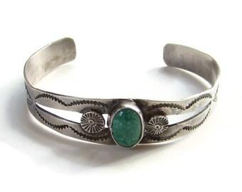 Vintage Navajo Southwestern Green Turquoise Cuff Bracelet Signed W