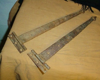 Primitive Strap Hinges Wrought Iron Hand Forged and Steel Pointed Tips Antique Vintage