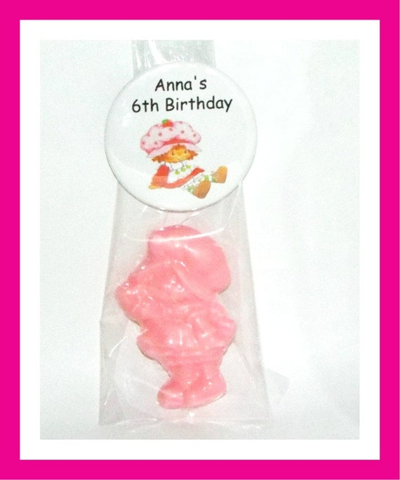 24 Little Girl Soap Favors, Birthday Party Favors,Baby Shower Favors,Personalized Button Pin,Girl Birthday Party Favors,Strawberry Girl