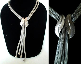 Silver Mesh Mid Century Lariat Necklace 1960s 1970s Statement