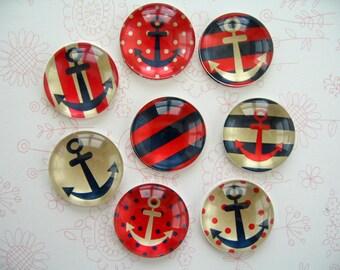 Ocean Ship Anchor Glass Magnet, Boat Anchor Fridge Glass Magnet, Anchor Round Magnet