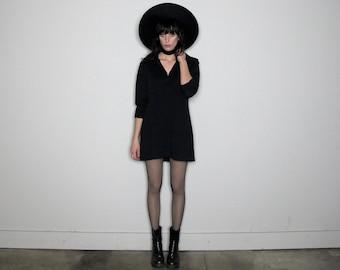 BLACK Mini DRESS Double KNIT Shift Mod Grunge Vintage Womens Size L