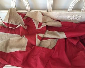 Vintage British Naval Flag - Union Jack - Tattered, Faded, Distressed