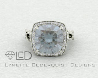 Stunning Limited Edition 10mm Square Cushion Clair de Lune Moissanite Halo and Woven Milgrain Detailing LCDH048