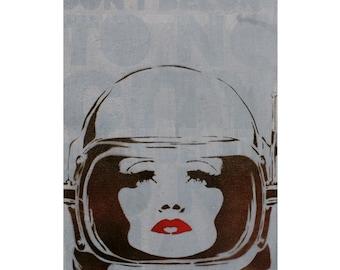 Graffiti Street Art Inspired Sci Fi Portrait 12 x 16 Painting AD ASTRA Comicon Art Female Astronaut Fantasy Artwork Canvas Graffiti Canvas