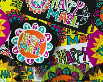 Happy Mail + Thank You Stickers - 25-pack or 50-pack