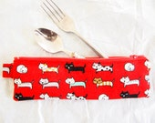 Zippered Cutlery / Utensils Case - Red Cats