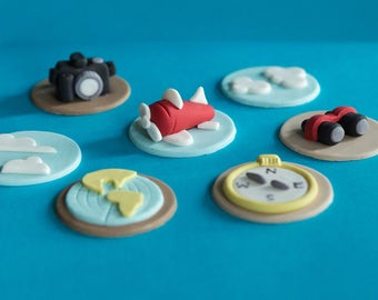 Fondant Travel Airplane Camera Compass Cupcake Toppers for Cupcakes, Cakes or Cookies