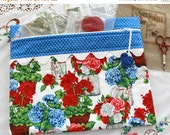 SALE Bright Flowers in Jars Cross Stitch, Sewing, Embroidery Project Bag