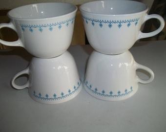 4 Corelle Garland AKA Snowflake Tea / Coffee Cups