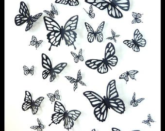 3D Wall Butterflies - 15 Black Different Butterfly for your Home, Nursery