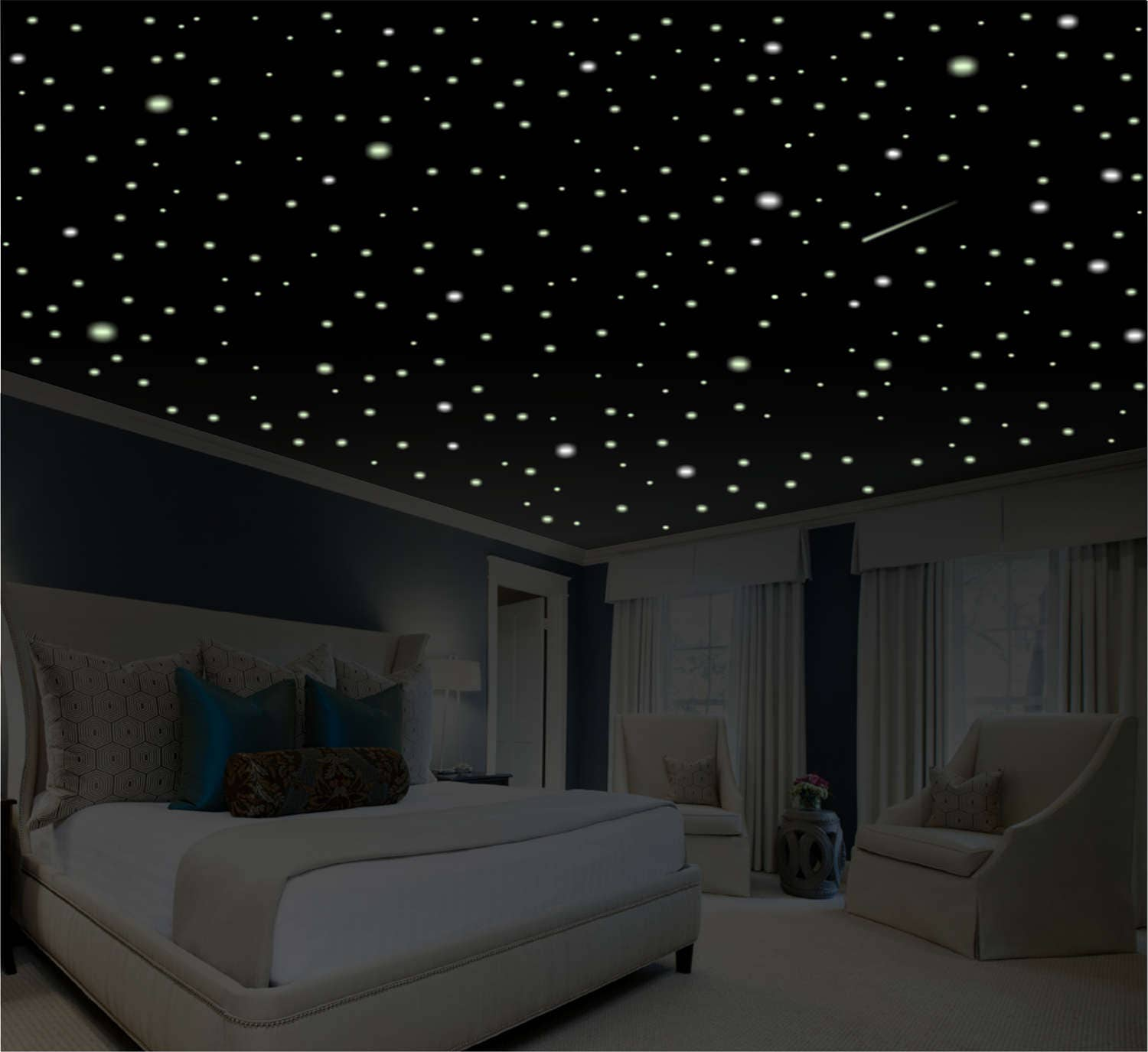 Romantic bedroom decor star wall decal glow in the dark for 5 star bedroom designs