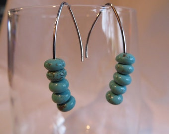 Turquoise Earrings on Silver Ear Wires, Turquoise, Earrings, Silver Ear Wires, Dangle
