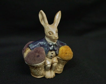 Antique Vintage Celluloid Pin Cushion Charming Rabbit, Collectible