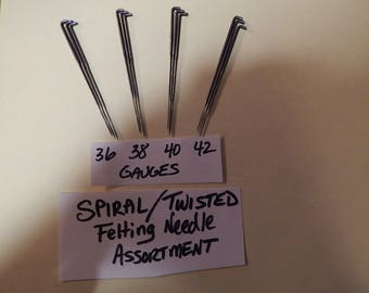 12 Ct. Spiral Felting Needle Assortment- 3 each 36-38-40-42 Gauges-Med-Ex.Fine.-Create Smooth surfaces without excess Fiber breakage