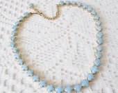 Pale Baby Blue Milk Glass Necklace, Short necklace, Vintage1950's, Unsigned, Demure necklace, Petite, blue & Gold, Vtg Bride, Something old