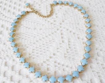 Pale Baby Blue Milk Glass Necklace, Short necklace, Vintage1950's, Unsigned, Demure necklace, Petite, blue & Gold, Vtg Bride, Something old